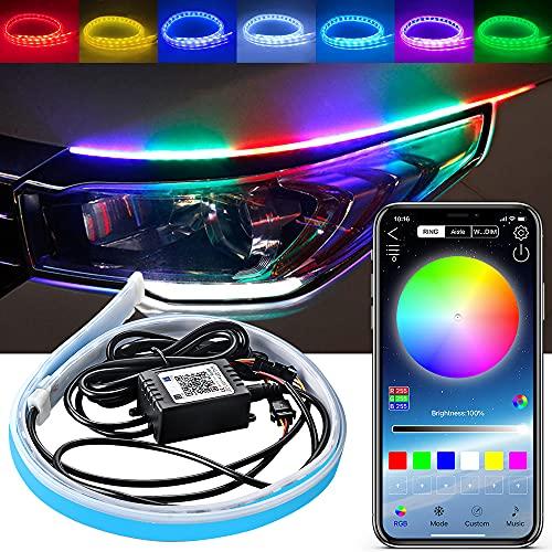 KaiDengZhe Tira de luz LED para coche, tira de luz LED de superficie de la tira del tubo de luz RGB multicolor APP Control de 23.6 pulgadas flexible LED de circulación diurna tira de neón -2 piezas