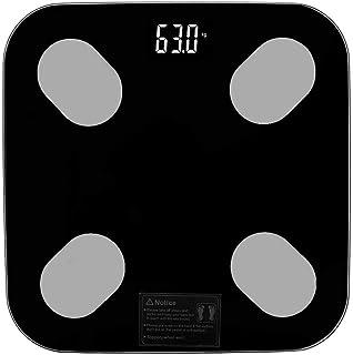 L.BAN Báscula Inteligente de Grasa Corporal, báscula de Peso de Grasa Báscula electrónica Digital de Grasa Corporal Báscula Inteligente de 180G, Cinta métrica Corporal incluida, Elegante Negro, ro