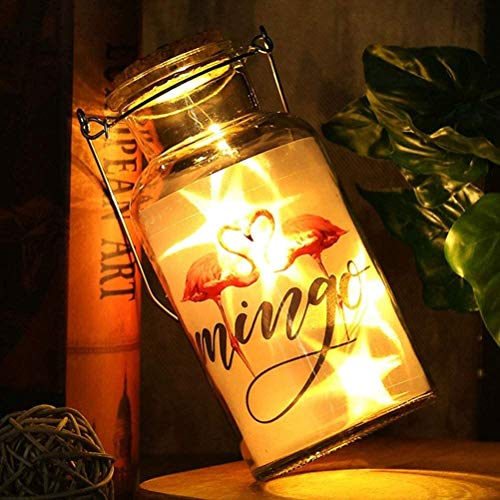 Bright colors and safety lights Fairy Lights Curtain,airy Light Transparent Glass Flamingo Pattern LED Wishing Bottle,for Birthdays, Parties, Performances, Restaurants, Simple furniture decoration