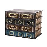 OVBBESS Caja de libros falsos accesorios de almacenamiento vintage libro joyería almacenamiento embalaje estudio libro adornos madera antiguo decorativo