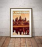 AZSTEEL Vintage Poster Cambodia Cambodge Angkor Wat Orange