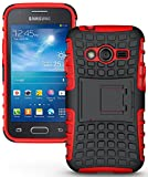 NAKEDCELLPHONE RED Grenade Grip Rugged TPU Skin Hard CASE Cover Stand for Samsung Galaxy ACE-4 (Lite G313 G313H)