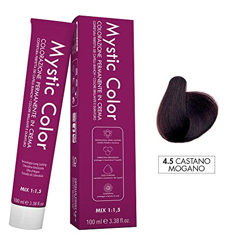 Mystic Color - Crème Colorante Permanente à l'Huile d'Argan et au Calendula - Coloration Longue Durée - Couleur Brun Acajou 4,5 - 100ml