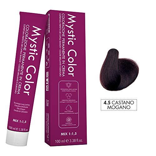 Mystic Color - Colorazione Permanente in Crema con Olio di Argan e Calendula - Tinta per Capelli Long Lasting - Colore Mogano 4.5-100ml