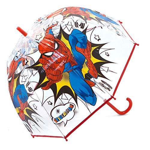 Paraguas Spiderman Marvel Paraguas Transparente Cúpula Infantil Paraguas Resistente Paraguas Niña Niño 69cm Color Rojo
