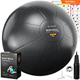 Exercise Ball   Stability Ball for Fitness, Yoga, Pilates, Pregnancy, Birthing or Office Desk Chair - 55cm / 65cm / 75cm Extra Thick, Anti-Burst & Non-Slip, Gym Quality Workout Ball - Pump & Guide