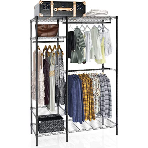 VIPEK 4 Shelves Garment Rack Heavy Duty Clothes Rack Portable Wire Shelving Clothing Racks with 3 Hanging Rod Freestanding Closet Metal Storage Rack Armoire Wardrobe Closet, Max Load 396.9LBS, Black