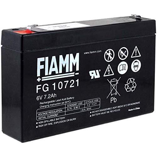 Fiamm Batería de repuesto FG10721 de 6 V y 7,2 Ah para barco de cebo, cebo, barco, cebador, 6 V