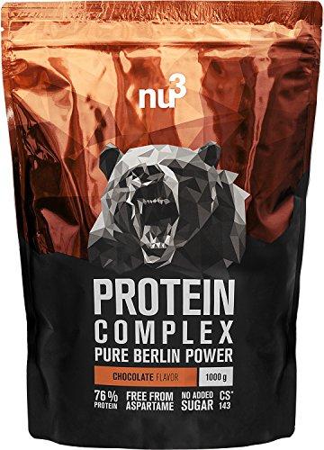 nu3 Protein Complex - Schokolade -1kg Proteinpulver - Whey, Milch, Ei Mehrkomponenten 3K Protein - Gute Löslichkeit bei über 5,1 g BCAAs pro Portion - Kraftsport optimiert