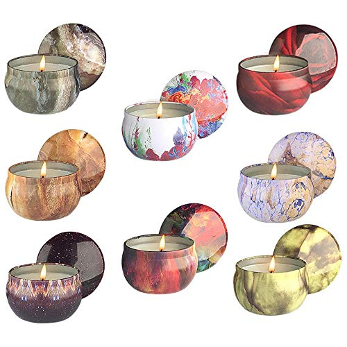 Scented Candles Gift Set, Natural Soy Wax Upgraded Large Portable Travel Tin Candles Women Gift with Strongly Fragrance Essential Oils for Stress Relief and Aromatherapy - 8 Pack