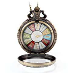 Antique Style - Clear glass cover case,colorful dial background with gold tone roman numerals,delicate yet nostalgic,make this watch necklace a great gift for men,women, boys and girls! A wonderful gift for traveling,graduation,birthday,Valentine's D...