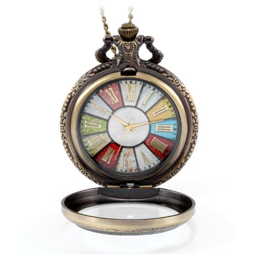 【Antique Pocket Watch】Clear glass cover case,colorful dial background with gold tone roman numerals,delicate yet nostalgic,make this watch necklace a great gift for men,women, boys and girls! A wonderful gift for traveling,graduation,birthday,Valenti...