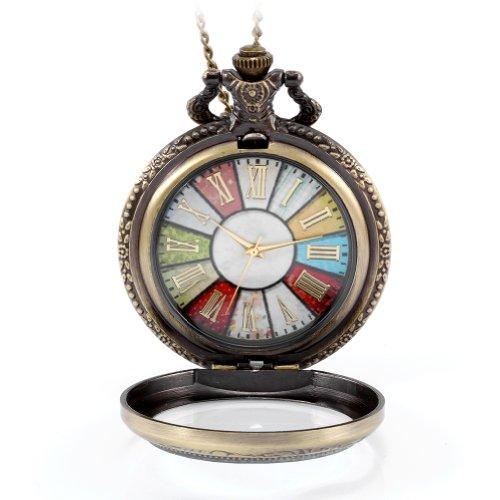 JewelryWe Reloj de bolsillo para Mujer, Estilo retro rueda Roma Steampunk reloj de bolsillo colgante cadena de 78cm de largo,Regalos para mujer cumpleaños