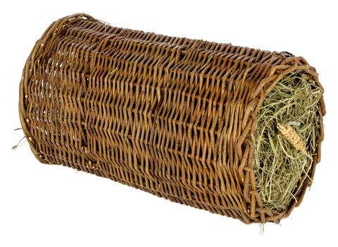 Kerbl Nagersnack im Weidentunnel, gefüllt mit Heu und Anderen Leckereien, Snack für Hasen, Meerschweinchen und Co, in 2 Größen (23 cm Durchmesser)