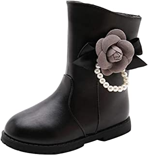 Fulision Girls Winter Warm Snow Boots Cute Flower Pearl Boots Leather Boots Princess Snow Shoes with Zipper