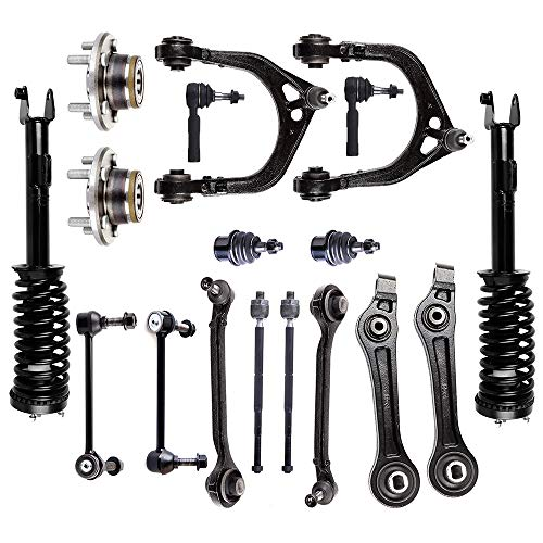Fastspace Suspension Kit Front Strut Spring Assembly Control Arm Stabilizer Bar Link Kit Tie Rod End Wheel Hub Replacement for 2005-2010 for Chrysler 300