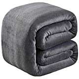 Soft Twin Size Summer Blanket All Season 350GSM Thicken Warm Fuzzy Microplush Lightweight Thermal Fleece Blankets for Couch Bed Sofa SOFTCARE Dark Grey 66' 90'