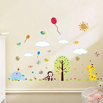 BIBITIME Jungle Animal Cartoon Monkey Wall Decal Decor Sticker for Nursery Bedroom Kids Room Classroom