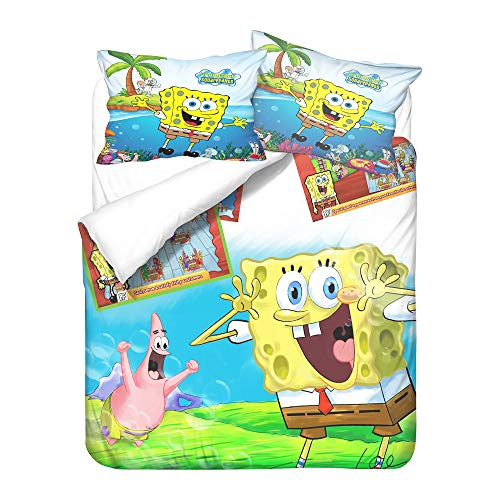 GDGM Kinderbettwäsche Spongebob,3D-Cartoon Anime Character Spongebob Squarepants,Bettbezug Und Kissenbezug,bettwäsche 135x200 Baumwolle (A06,135x200cm+80x80cm)