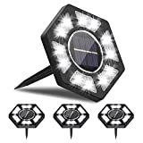 Rodicoco Solar Ground Lights 4 Packs, 12 LED Beads Solar Lights Outdoor, lamp Waterproof LED Solar Garden Lights Garden Lighting for Lawn,Pathway,Yard,Driveway,Step and Walkway.