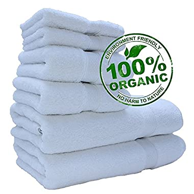 100% Pure Organic 700+ GSM Premium Quality Luxury Hotel & Spa Turkish Towels ( Aspendos Linen New Collection & Design ) Super Soft, Plush and Ultra Absorbent Quick dry (Towel Set - Set of 6, White)