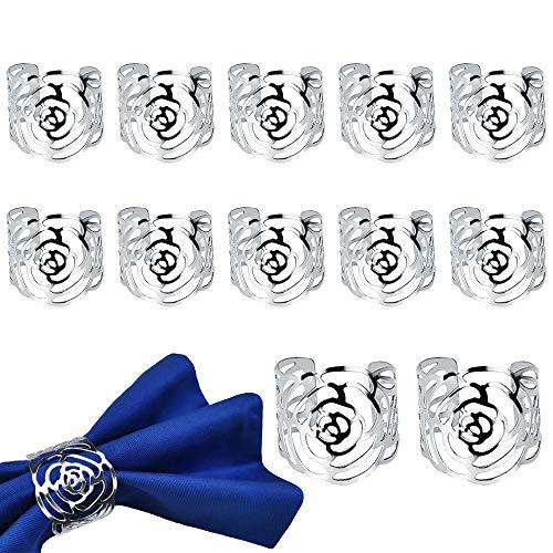 FAVENGO 12 Stück Serviettenringe Silber Serviettenhalter Metall Serviettenschnallen Rose Blume Muster Serviettenring für Taufe Hochzeit Party Geburtstag Weihnachten Abendessen Jubiläum Tischdekoration
