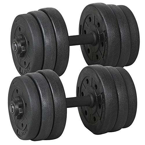 Yaheetech 10kg x 2 Hand Weights, Sold as Pair Adjustable Dumbbells Home Dumbbell Set Body Building Training Fitness Black