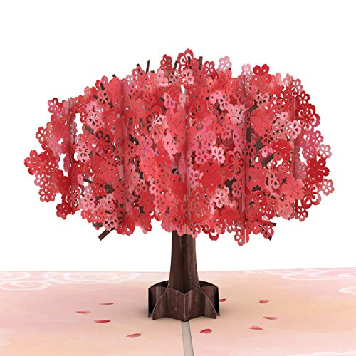 Lovepop Mother's Day Red Sakura Pop Up Card - 3D Card, Pop Up Mother's Day Card, Tree Card, Card for Mom, Mother's Day Card for Wife, 3D Mother's Day, Popup Greeting Cards