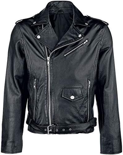 Estilo Clásico Abrigo de piel Hombre Chaqueta de Cuero Negro M, 100%...