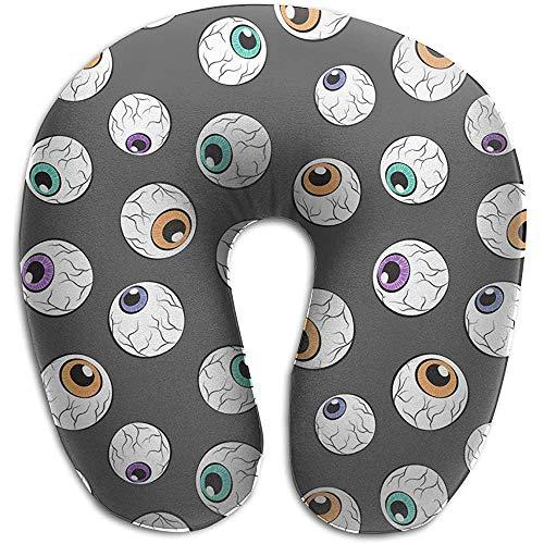 YSamuel Almohada de Viaje en Forma de U Almohada para el Cuello para el Dolor de Cuello Durmientes Laterales Cómodas Almohadas de Soporte para el Cuello de la Cabeza Cervical - (Globos oculares)