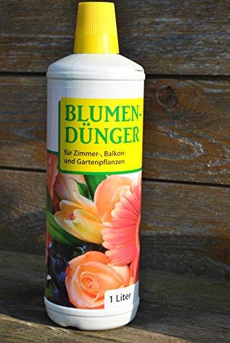 Engrais pour fleurs, liquide, floralin, chambre, de plantes de balcon et de jardin, 4x 1Ltr.