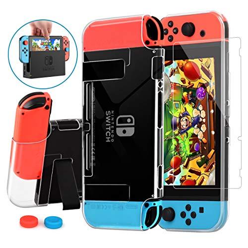 HEYSTOP Hülle Kompatibel mit Nintendo Switch mit Schutzfolie,Transparent Schutzhülle für Nintendo Switch Zubehör mit Switch Schutzfolie und Griff Cover Case Stoßdämpfung und AntiScratch
