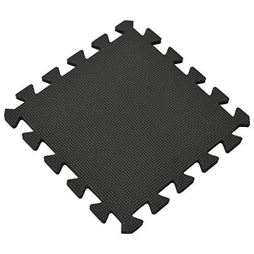 Irfora Puzzle-Trainingsmatte Bodenmatten Schutzmatten Set Bodenschutzmatten Unterlegmatte 54 STK Matten 4,86 ㎡ Eva-Schaumstoff Schwarz Suitable for high-Intensity Training, Yoga Cushion