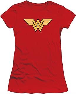 Wonder Woman Classic Logo Juniors Teen Girls T Shirt & Stickers