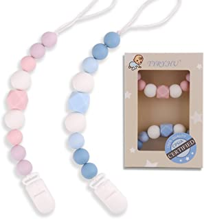 TYRY.HU Pacifier Clips Silicone Teething Beads BPA Free Binky Holder for Girls, Boys,..