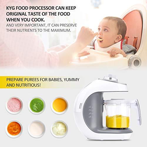 Babynahrungszubereiter KYG BFP-1800MT 5 in 1 Dampfgarer und Mixer für Babynahrung mit Dampfgaren Mixen Erwärmen Auftauen und Sterilisieren 220-240 V Baby Küchenmaschine (weiß) - 8