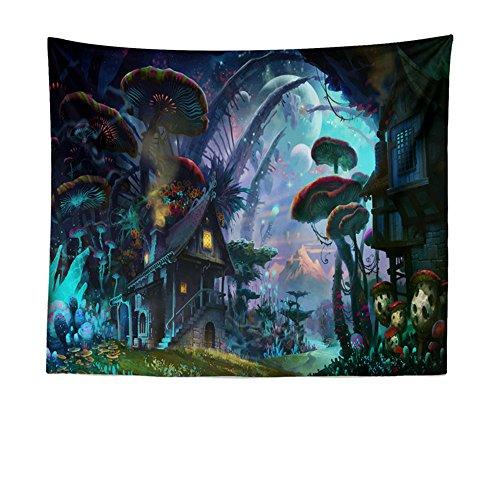 Tapisserie, Drap, Coverlet nique Plage Fiche, Décoration de chambre, Tapisserie murale ou drap de Plage Mandala Dream Forest House, 200x150cm