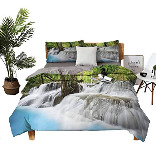 Waterfall Decor Collection Stylish and exquisite home decoration design 3-piece set Mystic Erawan Waterfall in Forest Fogs over Pool Picture Easy to install breathable and heat-dissipating sheets ver