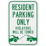 Resident Parking Only Sign, Violators Will Be Towed, Large 12x18 3M Reflective (EGP) Rust Free .63 Aluminum, Weather/Fade Resistant, Easy Mounting, Indoor/Outdoor Use, Made in USA by Sigo Signs
