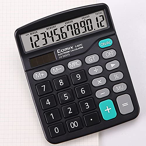 oficina escritorio calculadora Solar y batería Dual Power electrónica calculadora portátil Electrónica de Energía Solar y de Batería Doble Calculadora de Pantalla LCD Portátil de 12 Dígitos negro