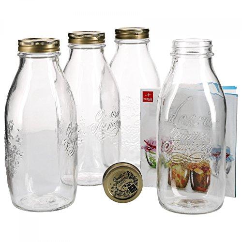 Bormioli 4er Set Einmachglas Original Quattro Stagioni 1,0L Flasche incl Rezeptheft