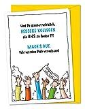 Lustige XXL Karte zum Abschied von Kollege oder Kollegin bei Wechsel von Firma, Unternehmen, Abteilung, Job, freche Abschiedskarte, Verabschiedungskarte - Grußkarte inkl. Umschlag (DIN A4)