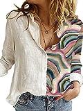 CORAFRITZ Blusa ligera para mujer con estampado de retazos de manga larga y botón de camisa aireada