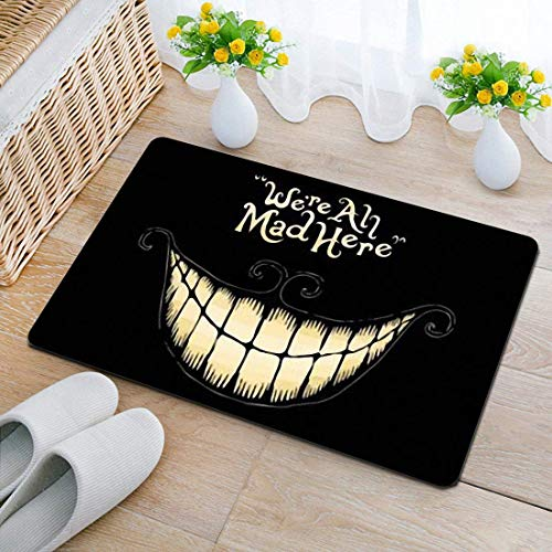 BLSYP Felpudo Decorative Doormat with We're All Mad Here Printed for Home/Office/Bedroom Neoprene Rubber Non Slip Backing Machine Washable