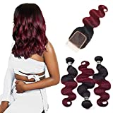 Tissage Bresilien en lot avec closure - ORANGE STAR 8a tissage bresilien boucle 1b # ombré tissage brésilien 99j Rouge Human Hair Bundles With Lace Closure (8 10 12+8 inches)