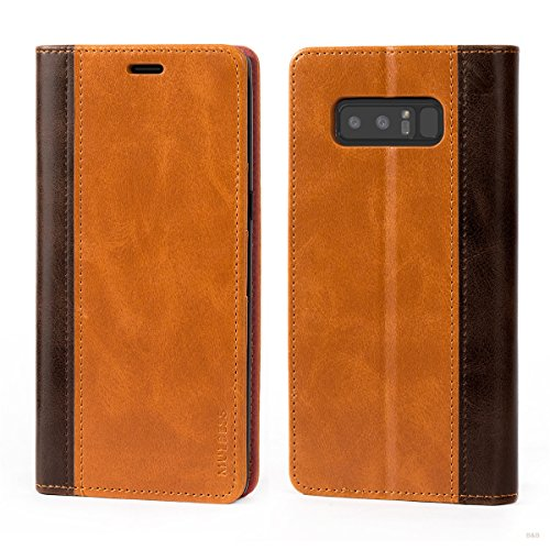 Mulbess Handyhülle für Samsung Galaxy Note 8 Hülle Leder, Samsung Galaxy Note 8 Handy Hüllen, mit BookStyle Flip Handytasche Schutzhülle für Samsung Galaxy Note 8 Case, Braun