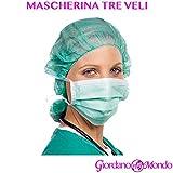 MASCHERINE CHIRURGICHE VERDI A 3 VELI MONOUSO 50 Pz MASCHERINA VERDE PROFESSIONALE MEDICA ESTETICA
