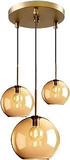 MZStech 3 Lampe Suspension Luminaire Verre Lumière pendante, Globe Lampe en verre Lustre suspension (Ambre, Set trois)