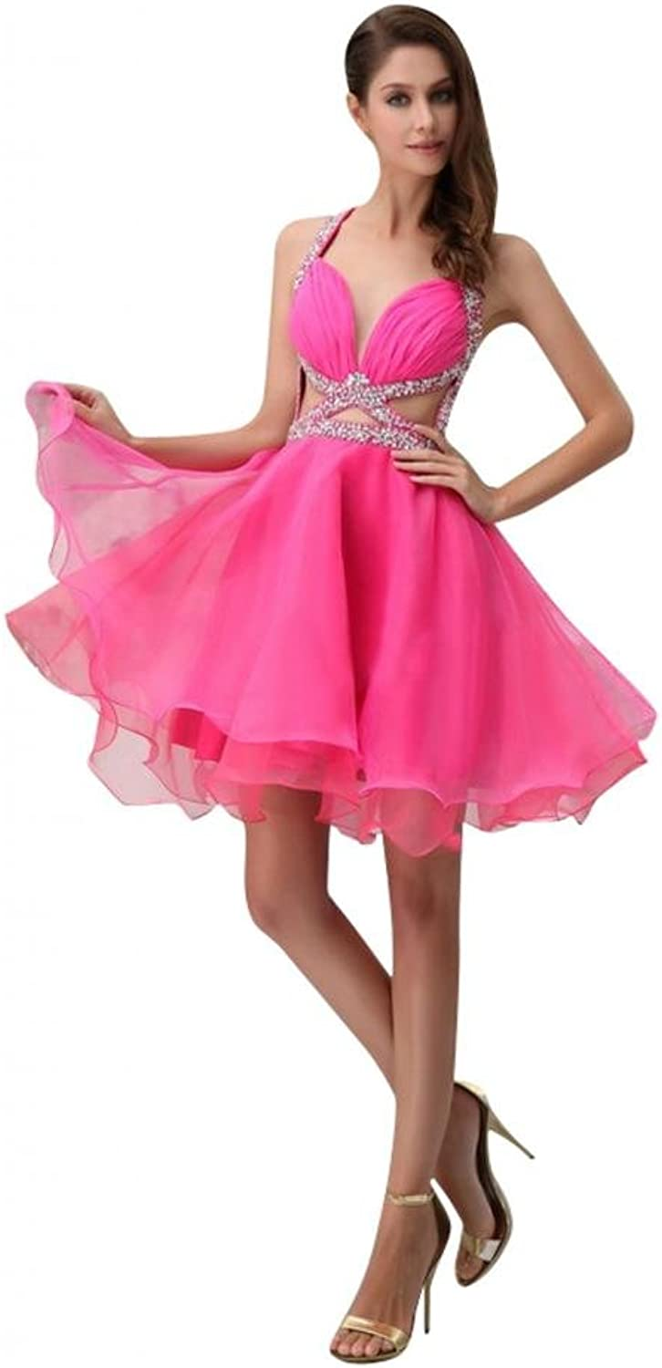 Scarlett Women's Mini Organza Party Prom Homecoming Cocktail Gown Hot Pink
