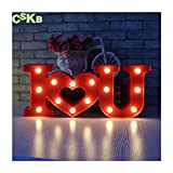 CSKB LED I Love U Letter Lights for Wedding Light Up Love Heart Marquee Sign Romantic Night Light Table Lamp Christmas Xmas Gift Home Party Wall Hanging Decoration Red